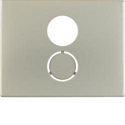 11847004 Centre plate for loudspeaker socket outlet Berker K.5, stainless steel,  metal matt finish