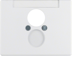 11850069 Centre plate for loudspeaker socket outlet with labelling field,  Berker Arsys,  polar white glossy