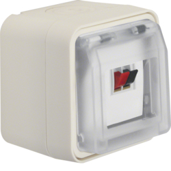 11963502 Loudspeaker connector box with hinged cover surface-mounted with labelling field,  Berker W.1, polar white matt