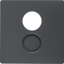 11966086 Centre plate for loudspeaker socket outlet Berker Q.1/Q.3/Q.7/Q.9, anthracite velvety,  lacquered