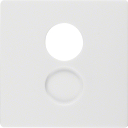 11966089 Centre plate for loudspeaker socket outlet Berker Q.1/Q.3/Q.7/Q.9, polar white velvety