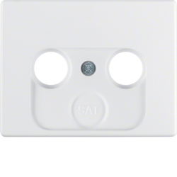 12010179 Centre plate for aerial socket 2-/3hole Berker Arsys,  polar white glossy