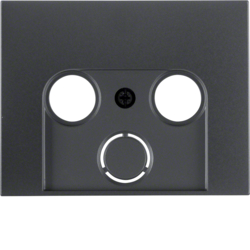 12017016 Centre plate for aerial socket 2-/3hole Berker K.1/K.5, anthracite matt,  lacquered