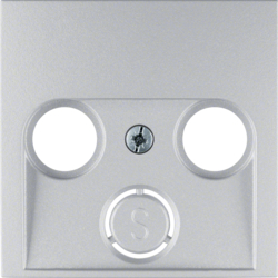 12031404 Centre plate for aerial socket 2-/3hole Berker S.1/B.7, aluminium,  matt,  lacquered