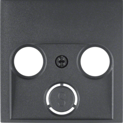 12031606 Centre plate for aerial socket 2-/3hole Berker S.1/B.3/B.7, anthracite,  matt