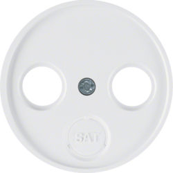 12032089 Centre plate for aerial socket 2-/3hole Berker R.1/R.3/R.classic,  polar white glossy