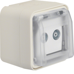 12033512 Aerial socket 2hole with hinged cover surface-mounted,  single socket Berker W.1, polar white matt