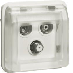 12033562 Aerial sockets insert 3hole with hinged cover surface-mounted,  single socket Berker W.1, polar white matt