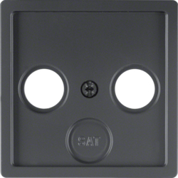 12036086 Centre plate for aerial socket 2-/3hole Berker Q.1/Q.3/Q.7/Q.9, anthracite velvety,  lacquered