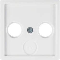 12036089 Centre plate for aerial socket 2-/3hole Berker Q.1/Q.3, polar white velvety