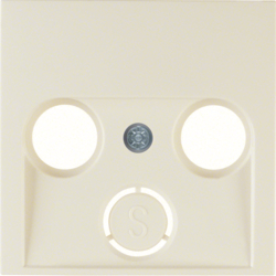 12038982 Centre plate for aerial socket 2-/3hole Berker S.1, white glossy