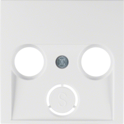 12038989 Centre plate for aerial socket 2-/3hole Berker S.1/B.3/B.7, polar white glossy