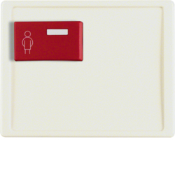12160002 Centre plate with red button at top Berker Arsys,  white glossy