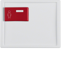 12160069 Centre plate with red button at top Berker Arsys,  polar white glossy
