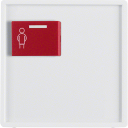 12166089 Centre plate with red button at top Berker Q.1/Q.3, polar white velvety