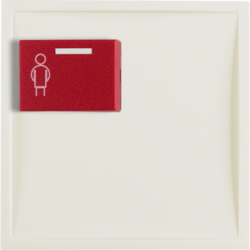 12168982 Centre plate with red button at top Berker S.1, white glossy