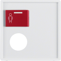 12176089 Centre plate with plug-in opening,  red button at top Berker Q.1/Q.3, polar white velvety