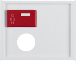 12177009 Centre plate with plug-in opening,  red button at top Berker K.1, polar white glossy