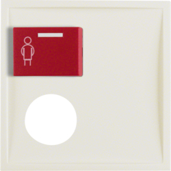 12178982 Centre plate with plug-in opening,  red button at top white glossy