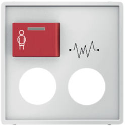 12186089 Centre plate with 2 plug-in openings,  imprint and red button at top polar white velvety