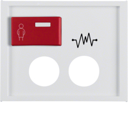 12187109 Centre plate with 2 plug-in openings,  imprint and red button at top Berker K.1, polar white glossy
