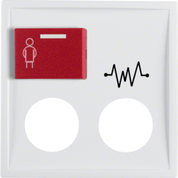 12188989 Centre plate with 2 plug-in openings,  imprint and red button at top Berker S.1/B.3/B.7, polar white glossy