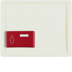 12190002 Centre plate with red button at bottom Berker Arsys,  white glossy