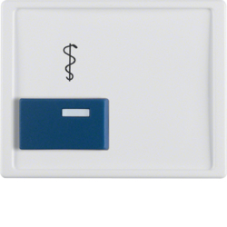 12230069 Centre plate with blue button and imprint Berker Arsys,  polar white glossy