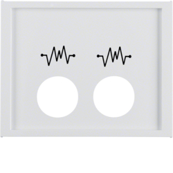 12447109 Centre plate with 2 plug-in openings and imprint,  for call unit Berker K.1, polar white glossy