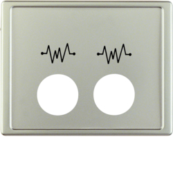 12449004 Centre plate with 2 plug-in openings and imprint,  for call unit Berker Arsys,  stainless steel matt,  lacquered