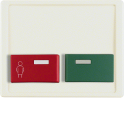 12490002 Centre plate with red + green button Berker Arsys,  white glossy