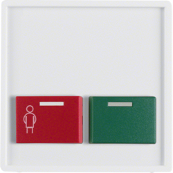 12496089 Centre plate with red + green button Berker Q.1/Q.3/Q.7/Q.9, polar white velvety
