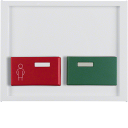 12497009 Centre plate with red + green button Berker K.1, polar white glossy