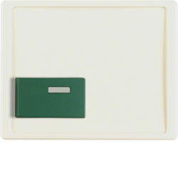 12510002 Centre plate with green button Berker Arsys,  white glossy