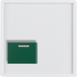 12516089 Centre plate with green button Berker Q.1/Q.3/Q.7/Q.9, polar white velvety