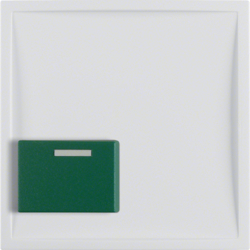 12518989 Centre plate with green button polar white glossy