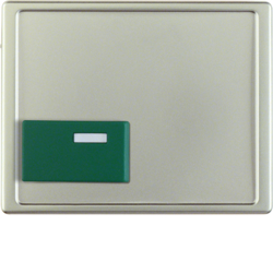 12519004 Centre plate with green button Berker Arsys,  stainless steel matt,  lacquered