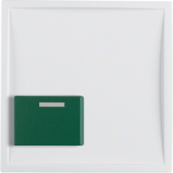 12519909 Centre plate with green button Berker S.1/B.3/B.7, polar white matt