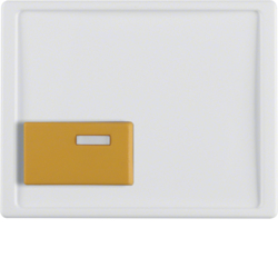 12520069 Centre plate with yellow button Berker Arsys,  polar white glossy