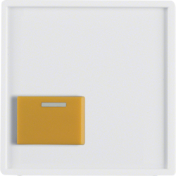 12526089 Centre plate with yellow button Berker Q.1/Q.3, polar white velvety