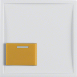 12528989 Centre plate with yellow button Berker S.1/B.3/B.7, polar white glossy