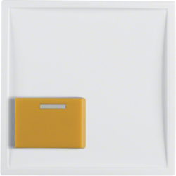 12529909 Centre plate with yellow button Berker S.1/B.3/B.7, polar white matt