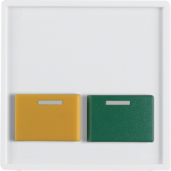 12536089 Centre plate with green + yellow button Berker Q.1/Q.3/Q.7/Q.9, polar white velvety