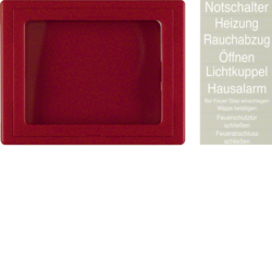 12970000 Centre plate with glass plate Rocker,  Berker Arsys,  red glossy