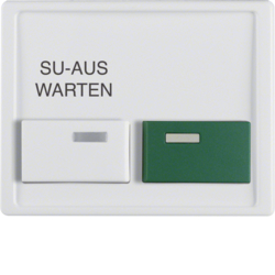 12990069 Centre plate with white + green button Berker Arsys,  polar white glossy