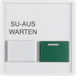 12996089 Centre plate with white + green button Berker Q.1/Q.3, polar white velvety