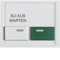 12997109 Centre plate with white + green button Berker K.1, polar white glossy