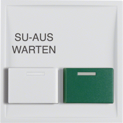 12998989 Centre plate with white + green button Berker S.1/B.3/B.7, polar white glossy