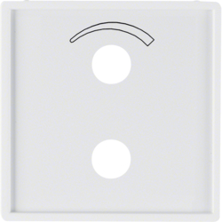 13006089 Centre plate with imprinted symbol curve for small sound system Berker Q.1/Q.3, polar white velvety