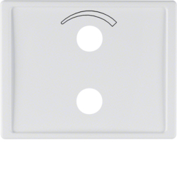 13007109 Centre plate with imprinted symbol curve for small sound system Berker K.1, polar white glossy